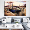 Boat in Bay Nature Landscape Modern Wall Art Print for Room Wall Decor