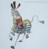 Zebra Abstract Modern Animal Cartoon Painting Canvas Print