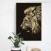 Angry Lion Modern Animal Painting Canvas Print for Living Room Wall Finery
