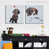 Dog Breed Abstract Animal Painting Canvas Print for Study Room Wall Getup