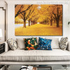 Golden Trees Nature Modern Botanical Picture Canvas Print for Living Room Decor