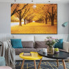 Golden Trees Nature Modern Botanical Picture Canvas Print for Room Wall Drape