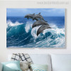 Leaping Dolphins Modern Seascape Animal Painting Photo Canvas Print for Wall Decor