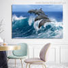 Leaping Dolphins Modern Seascape Animal Painting Photo Canvas Print for Room Wall Disposition