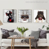 Dj Dog Animal Modern Painting Canvas Print for Lounge Room Wall Disposition