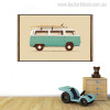 Van with Surfboard Vintage Nordic Minimalist Painting Canvas Print for Room Wall Finery