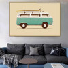 Van with Surfboard Vintage Nordic Minimalist Painting Canvas Print for Room Wall Decor