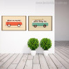 Van and Bus Vintage Nordic Minimalist Painting Canvas Print for Living Room Wall Assortment