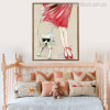 Girl with Dog Animal Modern Canvas Artwork Print for Living Room Wall Trimming