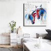 Two Horses Abstract Animal Modern Painting Canvas Print for Home Wall Decor