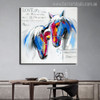 Two Horses Abstract Animal Modern Painting Canvas Print for Home Wall Flourish