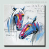 Two Horse Love Abstract Animal Modern Painting Canvas Print