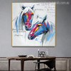 Two Horse Love Abstract Animal Modern Painting Canvas Print for Home Wall Disposition