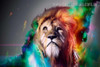 Lion Face Animal Abstract Modern Painting Canvas Print