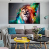 Lion Face Animal Abstract Modern Painting Canvas Print for Living Room Wall Decor