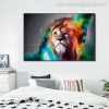 Lion Face Animal Abstract Modern Painting Canvas Print for Bedroom Wall Drape