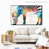 Hued Zebra Animal Abstract Modern Painting Canvas Print for Room Wall Adornment