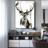 Black Deer Animal Abstract Modern Painting Canvas Print for Living Room Wall Moulding