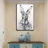 Rabbit Face Animal Abstract Modern Painting Canvas Print for Home Wall Garniture