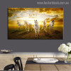 Herd of Horses Animal Modern Painting Canvas Print for Dining Room Wall Finery