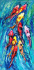 Huddle of Goldfish Animal Abstract Watercolor Painting Picture Canvas Print