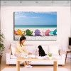 Beach Chairs Seascape Modern Landscape Painting Picture Print for Home Wall Outfit