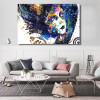 Hued Girl Figure Abstract Modern Canvas Artwork Photo Print for Living Room Wall Drape