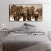 Elephants Family Animal Modern Wall Art Picture Print for Bedroom Wall Decor