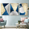 Golden Boxes Abstract Modern Geometric Painting Canvas Print for Living Room Wall Garniture