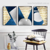 Golden Boxes Abstract Modern Geometric Painting Canvas Print for Lounge Room Wall Assortment