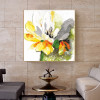 Chromatic Lotus Abstract Watercolor Framed Resemblance Photo Canvas Print for Home Wall Getup