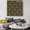 Gold Floral Abstract Framed Painting Picture Canvas Print for Home Wall Tracery