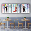 Romantic Kiss Abstract Modern Framed Watercolor Painting Picture Canvas Print for Dining Room Wall Adornment