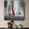 Sailboats Abstract Landscape Framed Contemporary Image Print for Wall Flourish