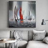 Sailboats Abstract Landscape Framed Contemporary Image Print for Wall Garnish