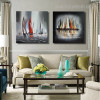 Ketches Abstract Framed Landscape Painting Picture Canvas Print for Wall Outfit
