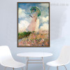 Woman with Parasol Impressionist Botanical Painting Picture Canvas Print for Dining Room Wall Decor