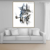 Smoking Man Abstract Watercolor Framed Cityscape Canvas Artwork Image Print for Room Wall Adornment