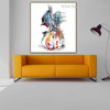 Guitar Abstract Watercolor Framed Cityscape Smudge Image Canvas Print for Living Room Wall Drape