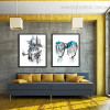 London Metropolis Abstract Watercolor Framed Cityscape Vignette Image Canvas Print for Living Room Wall Decor