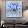 Bluish Bloom Abstract Watercolor Botanical Knife Painting Picture Canvas Print for Living Room Wall Outfit