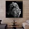 Leo Face Animal Framed Modern Painting Image Canvas Print for Room Wall Drape