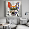 German Shepherd Dog Abstract Animal Framed Modern Painting Picture Canvas Print for Room Wall Outfit