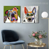 Pet Dogs Abstract Animal Framed Modern Painting Picture Canvas Print for Room Wall Decor