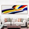 Abstract Watercolor Rainbow Framed Contemporary Panoramic Painting Image Canvas Print for Wall Decoration