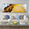 Golden Orange Abstract Modern Framed Panoramic Smudge Image Canvas Print for Room Wall Getup