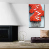 Red Forest Nature Group Abstract Modern Framed Painting Picture Canvas Print for Room Wall Decor