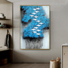 Blue Arbors Birds Abstract Modern Framed Portmanteau Image Canvas Print for Room Wall Outfit