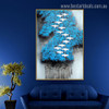 Blue Arbors Birds Abstract Modern Framed Portmanteau Image Canvas Print for Room Wall Getup