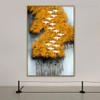 Yellow Trees Abstract Birds Modern Framed Painting Photo Canvas Print for Room Wall Adornment